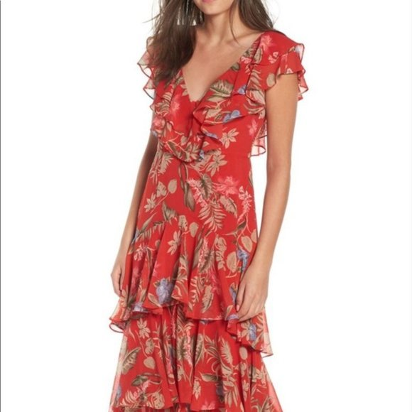 NWT WAYF Chelsea Tiered Floral Maxi Dress